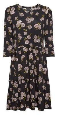 Dorothy Perkins Womens Black Rose Print Ruffled Smock Dress, Black