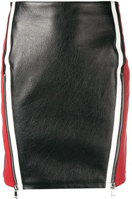 Alexander McQueen Block Colour Leather Skirt
