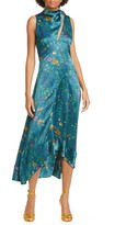 AMUR Georgia Tie Neck Floral Print Silk Midi Dress