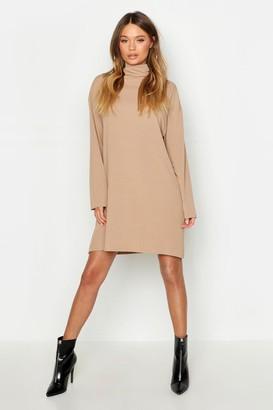 boohoo Roll Neck Ribbed Long Sleeve Mini Dress