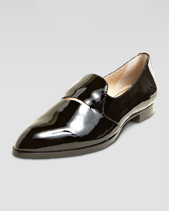 Elizabeth and James Aly Patent Pointed-Toe Loafer, Black