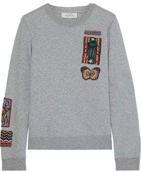 Valentino Bead-embellished French Cotton-blend Terry Sweatshirt