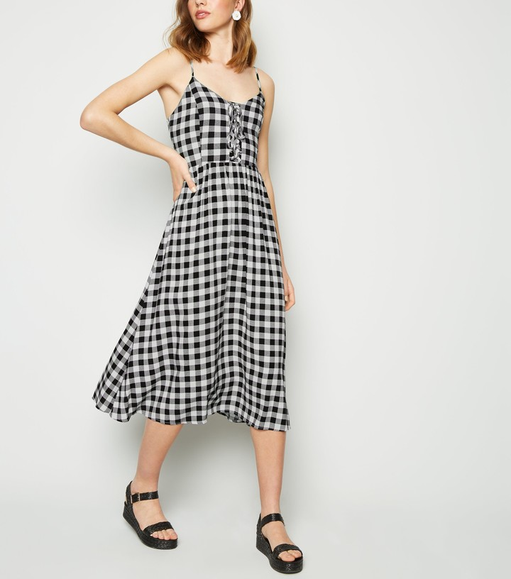 New Look Check Lace Up Front Midi Dress