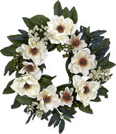 Asstd National Brand Nearly Natural 22 Magnolia Wreath