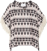 Thakoon fringed hooded cotton-blend tweed top