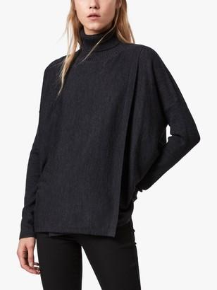 AllSaints Koko Merino Wool Wrap Jumper, Black