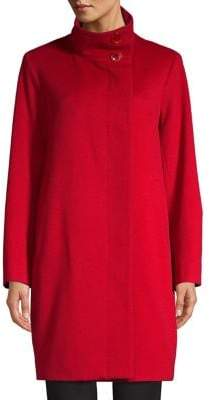 Sofia Cashmere Stand-Collar Wool Cashmere Coat