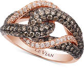 LeVian Le Vian Chocolatier® Gladiator KnotTM White and Chocolate Diamond Ring (1-1/2 ct. t.w.) in 14k Rose Gold