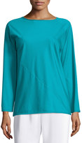 Shamask Long-Sleeve Round-Neck T-Shirt, Teal