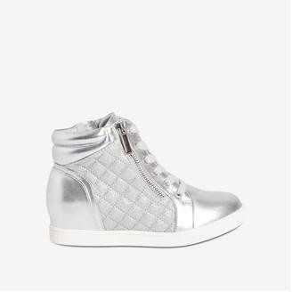 Joe Fresh Kid Girls' Wedge Sneakers, Silver (Size 6)