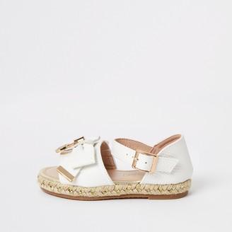 River Island Mini girls White bow espadrille sandals
