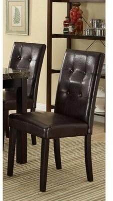 Paredes Tufted Upholstered Side Chair in Brown Winston Porter
