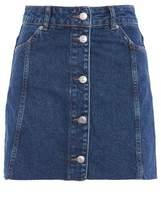 Topshop Moto button through denim mini skirt