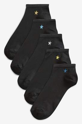 Next Womens Star Motif Trainer Socks Five Pack - Black