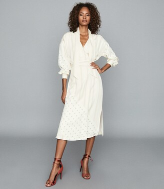 Reiss Romi - Printed Midi Dress in Ivory