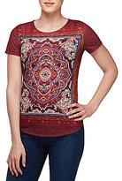 Allison Daley Wide Crew-Neck Tile Print Short Sleeve Knit Top