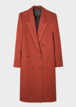 Women's Rust Wool-Blend Double-Breasted Coat With White Stitching
