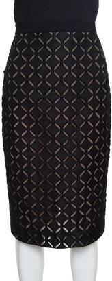 Roland Mouret Black Laser Cut Sitona Pencil Skirt L
