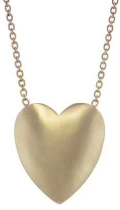 Irene Neuwirth Extra Large Flat Heart Necklace - Rose Gold