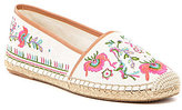 Gianni Bini Pema Floral-Embroidered Canvas Flats