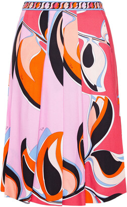 Emilio Pucci Pleated Printed Crepe Skirt