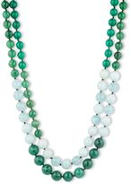 lonna & lilly Two Row Agate and Amazonite Bead Necklace