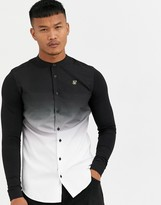 SikSilk muscle fit grandad collar long sleeve grandad shirt in faded black