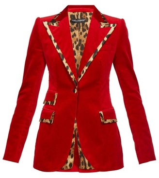 Dolce & Gabbana Leopard-print Trim Single-breasted Velvet Blazer - Womens - Red
