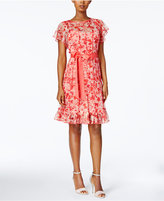Jessica Howard Petite Floral-Print Pintucked Dress
