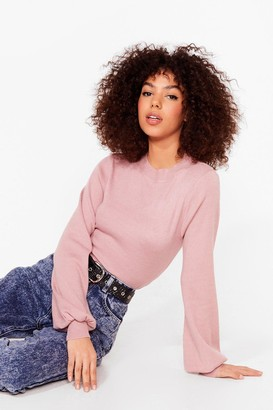 Nasty Gal Womens Knit Just Got Interesting Balloon Sleeve Sweater - Pink