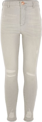 River Island Light Grey ripped Kaia high rise jeggings