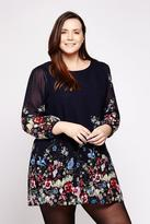 Yumi Curves Floral Tunic Dress plus size 18-26 Navy