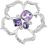Miki&Co Silver Swarovski Elements Women's Crystal Crystal Flower Brooch, with a Gift Box