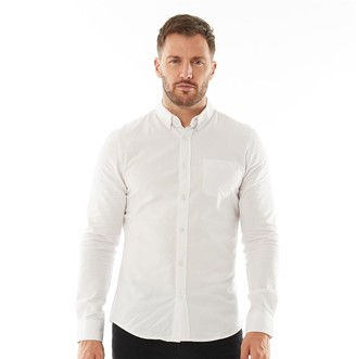 Onfire Mens Button Down Collar Long Sleeve Oxford Shirt White