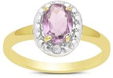 .80 Carat TW Oval-cut Amethyst and Diamond Accent Ring Gold Plated (IJ-I2-I3) (February)