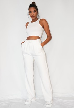 Missguided Petite White Co Ord Belted Cigarette Trousers