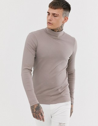 BEIGE Asos Design ASOS DESIGN muscle fit long sleeve jersey roll neck in rib in