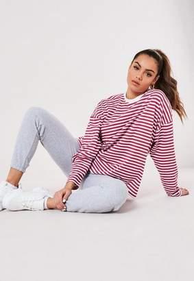 Missguided Burgundy Stripe Drop Shoulder Long Sleeve T Shirt