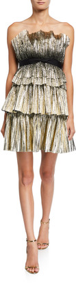 Jenny Packham Strapless Tiered Short Dress