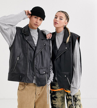 Collusion Unisex oversized biker vest in black