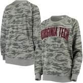 Unbranded Women's Pressbox Camo Virginia Tech Hokies Gulfport Applique French Terry Crew Neck Sweatshirt