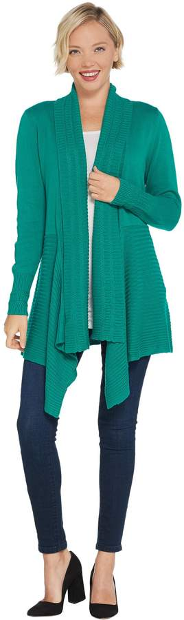 Isaac Mizrahi Live! Mixed Stitch Cascade Shawl Collar Cardigan