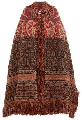 Etro Torbay Paisley-jacquard Wool-blend Cape - Womens - Red Multi