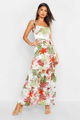 boohoo Tropical Print Cupped Tiered Maxi Dress