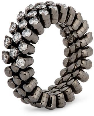 Serafino Consoli Coated White Gold and Diamond Brevetto Narrow Ring
