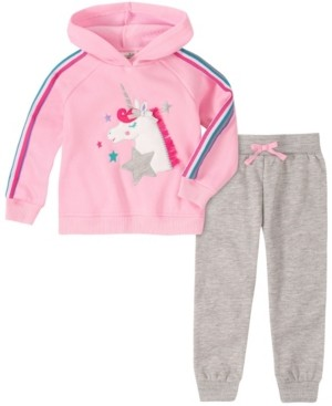 Kids Headquarters Toddler and Little Girls Two Piece Unicorn Hooded Fleece Top with Fleece Pant Set