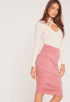 Missguided Ruched Seam Midi Skirt Pink