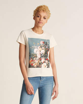 Lucky Brand Oatmeal Heather Floral Graphic Tee