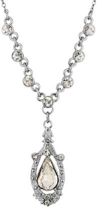 1928 Silver-Tone Crystal Suspended Teardrop Necklace