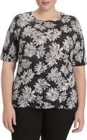 Toni T by Toni Plus Floral-Print Merino Wool Short-Sleeve Sweater